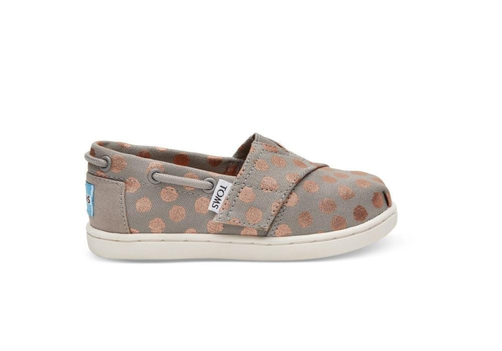 Tiny Toms Bimini Shoes in Drizzle Grey Rose Gold Foil Polka Dot