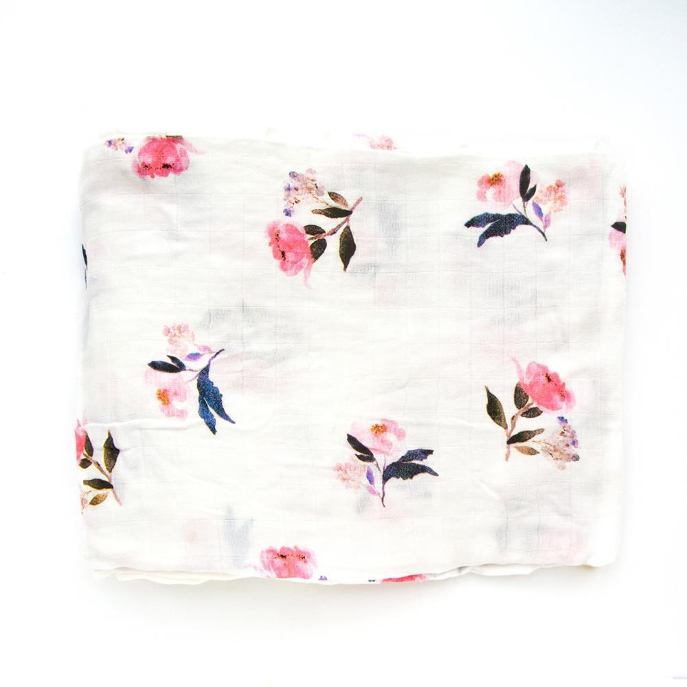 Loulou Lollipop LUXE MUSLIN QUILT BLANKET - PINK PEONY