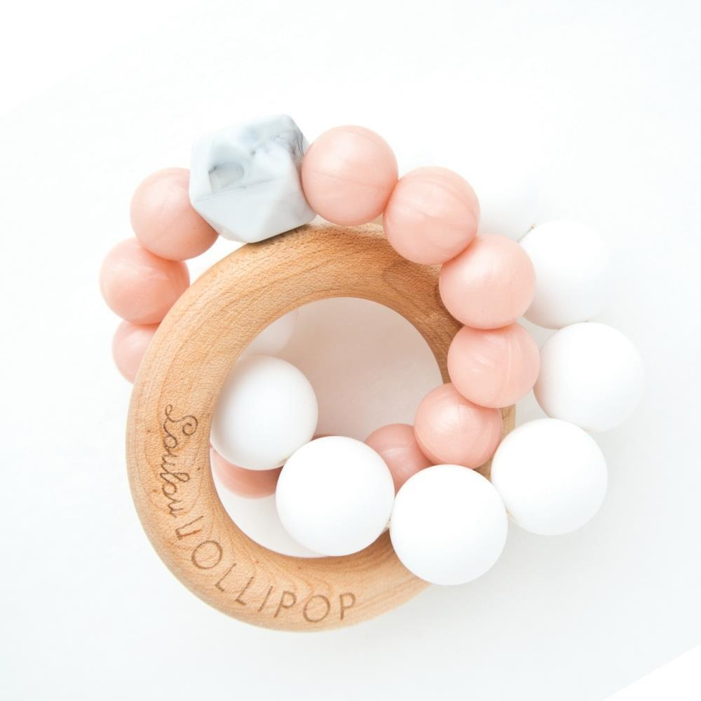 Loulou Lollipop Trinity Wood and Silicone Teether in Champagne Rose