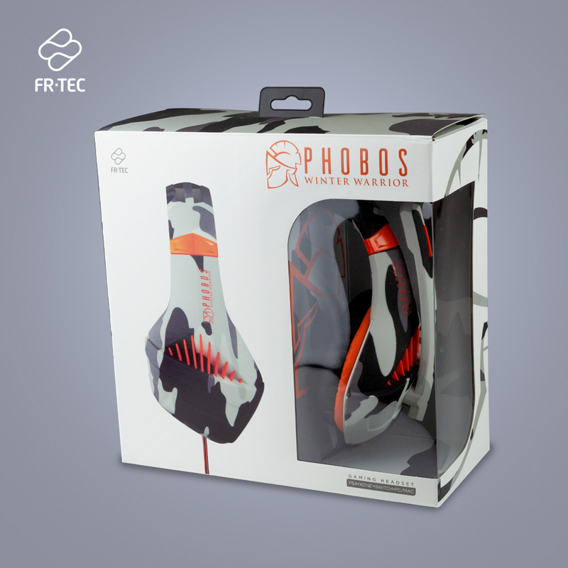 Phobos Winter Warrior gaming Headsets - Multiformat (PS4/PC/Switch) - 3.5 mm jack - Wit - Camo Grijs - Oranje