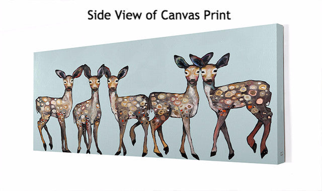 5 Dancing Fawns on Ice Blue - Giclée Print