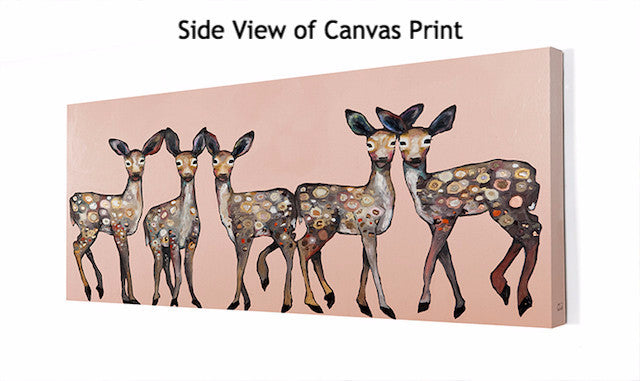 5 Dancing Fawns on Coral - Giclée Print
