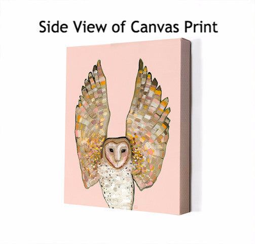 Barn Owl in Coral - Giclée Print