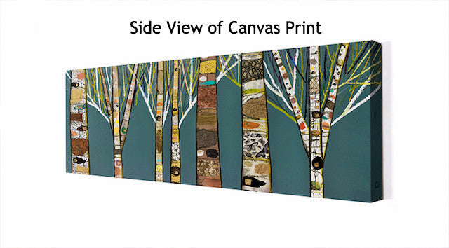 Birch Tree Forest in Teal - Giclée Print