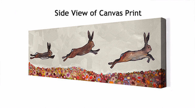 Brown Bunnies Jumping Over Wildflowers - Giclée Print