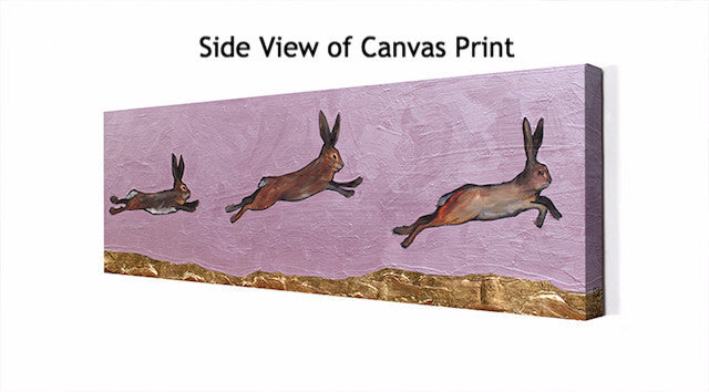 Brown Bunnies Jumping Over Gold Mountains - Giclée Print