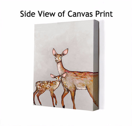Deer with Fawn Soft Pewter - Giclée Print