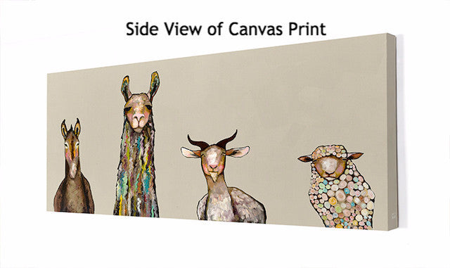 Donkey, Llama, Goat, Sheep on Cream - Giclée Print