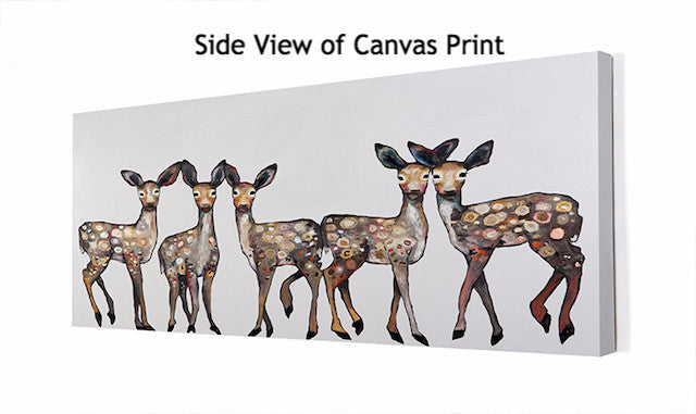 5 Dancing Fawns in White -  Giclée Print