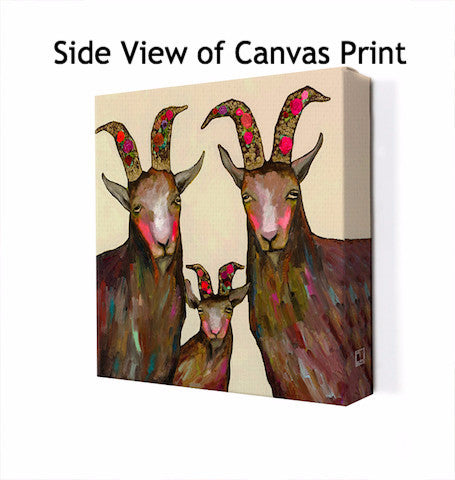 Goat Family Portrait Cream - Giclée Print