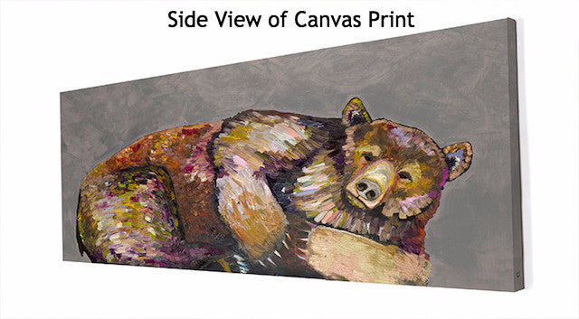 Grizzly Bear Dreams on Grey - Giclée Print