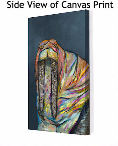 Jeweled Walrus on Blue - Giclée Print