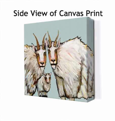 Mountain Goat Family Portrait in Blue - Giclée Print