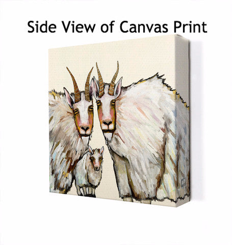 Mountain Goat Family Portrait in Cream - Giclée Print