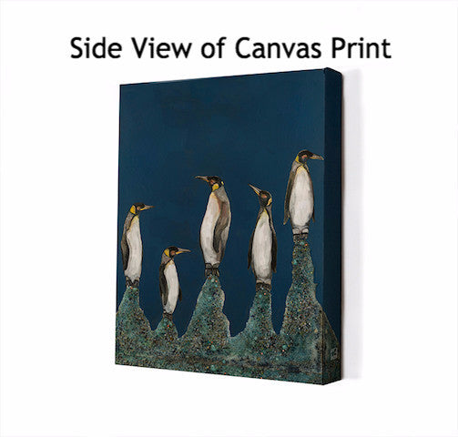 Penguin Colony on Indigo - Giclée Print