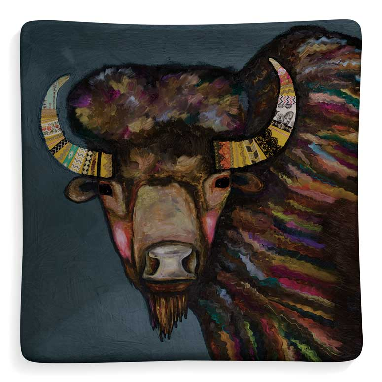 Crowned Bison Decorative Dish