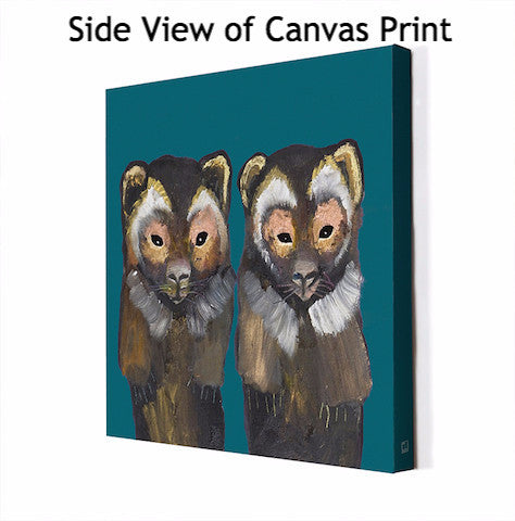Pair of Wolverines on Teal - Giclée Print