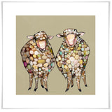 2 Woolly Sheep on Taupe - Giclée Print