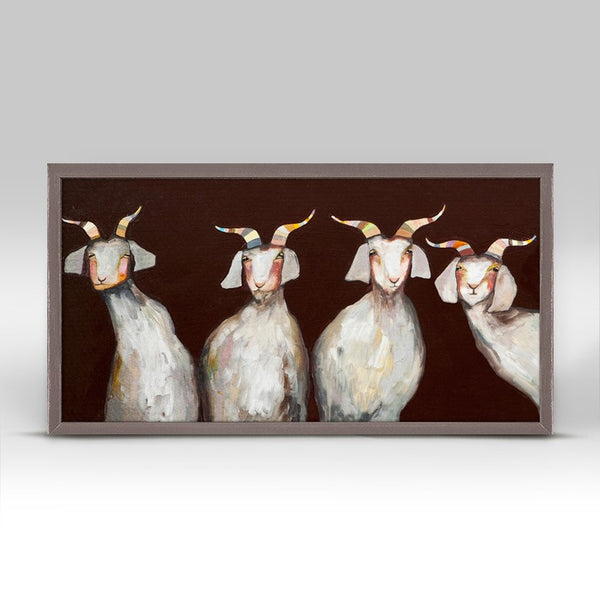 "4 Goats on Chocolate Mini Print 10"" x 5"""