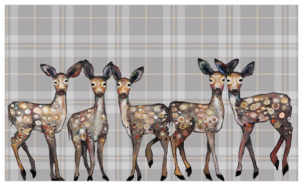 5 Dancing Fawns in Plaid -  Signed Giclée Print