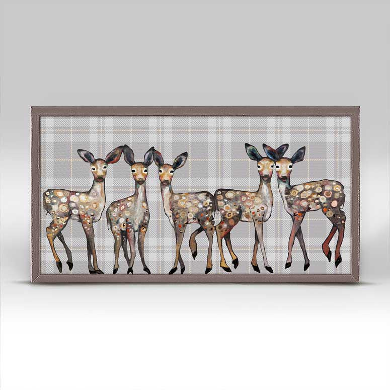 "5 Dancing Fawns on Plaid Mini Print 10"" x 5"""