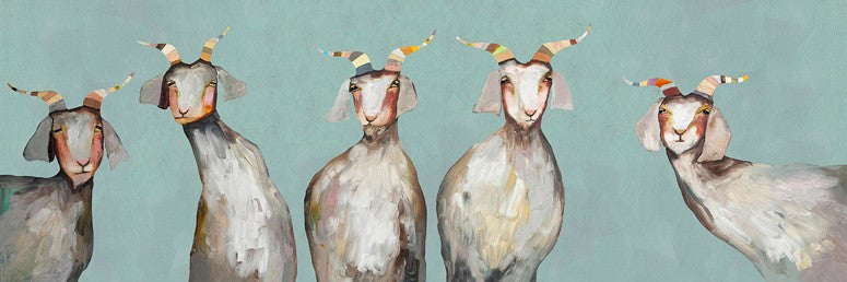 5 Goats on Soft Blue - Giclée Print