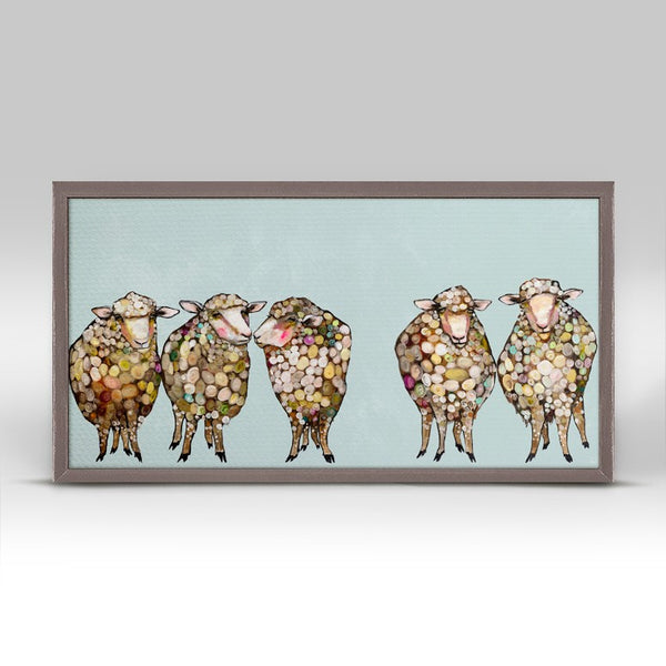 "5 Woolly Sheep Mini Print 10"" x 5"""