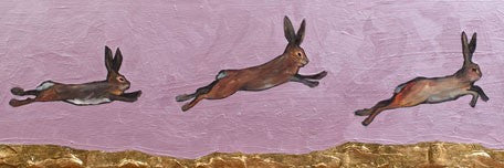 Brown Bunnies Jumping Over Gold Mountain - Giclée Print