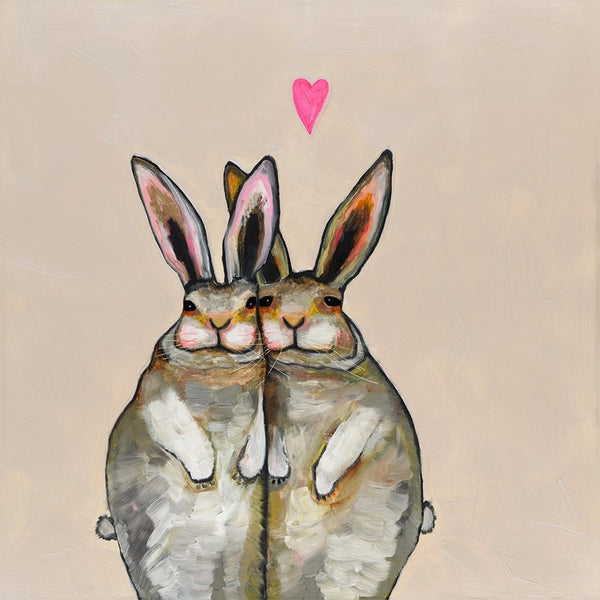 Cuddle Bunnies in Cream - Giclée Print