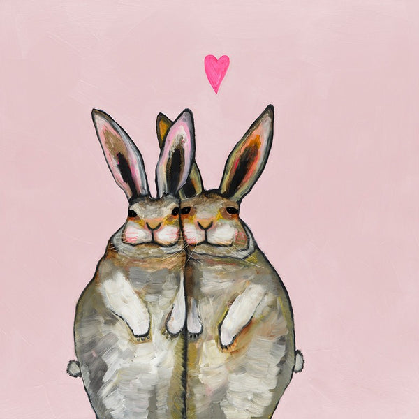 Cuddle Bunnies in Love - Giclée Print