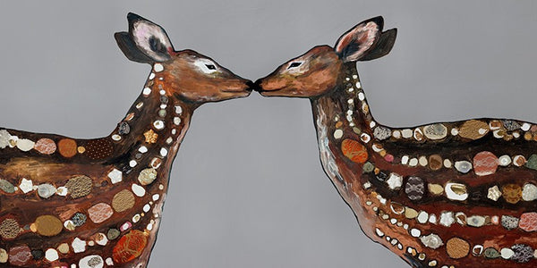 Deer Love on Deep Gray - Giclée Print