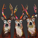 Designer Deer  on Charcoal - Giclée Print