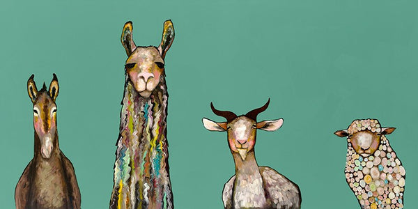 Donkey, Llama, Goat, Sheep on Teal - Giclée Print
