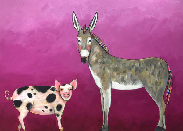 Donkey and Pig Tails - Oil Painting