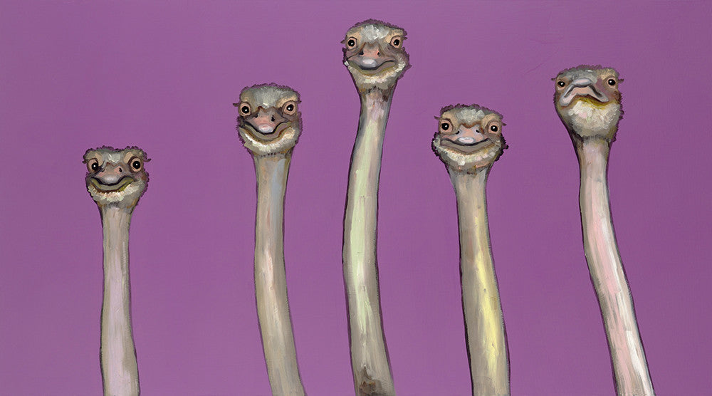 Five Ostriches in Radiant Orchid - Giclée Print