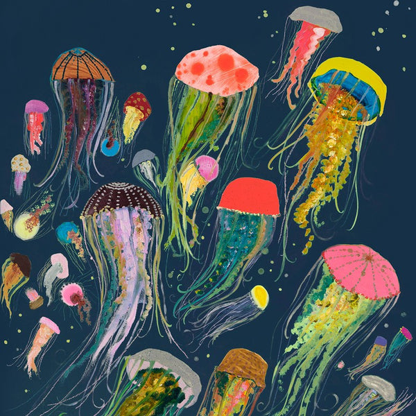 Floating Jellyfish in Indigo - Giclée Print