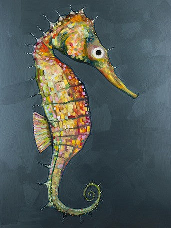 Floating Seahorse in Blue - Giclée Print