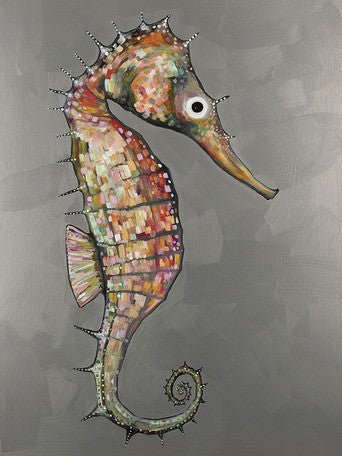 Floating Seahorse in Silver - Giclée Print