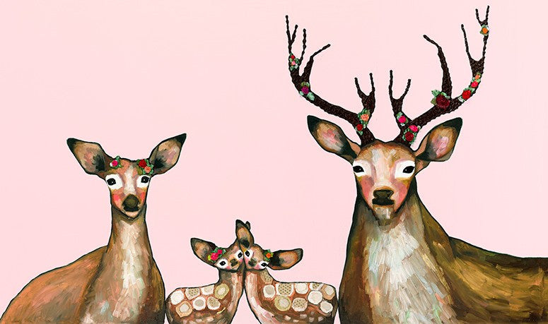 Flower Deer Family on Blush - Giclée Print
