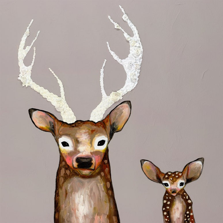 Frosted Buck and Baby  - Giclée Print