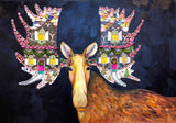 Gingerbread House Moose - Oil Painting