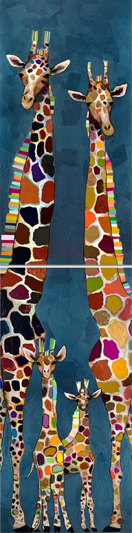 Giraffe Family of Four Diptych - Giclée Print