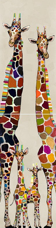 Giraffe Family of Four on Cream Diptych - Giclée Print