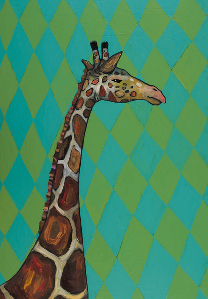 Giraffe in Diamonds - Giclée Print