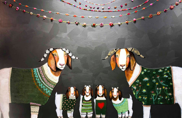 Boer Goats in Sweaters - Oil Painting
