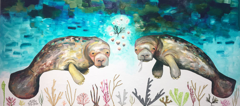 Manatees - Oil Painting