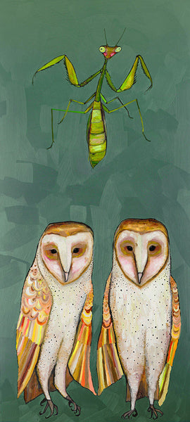 Praying Mantis Meal With Barn Owls - Signed Large Giclée Canvas Print For Austin Tx Delivery Only