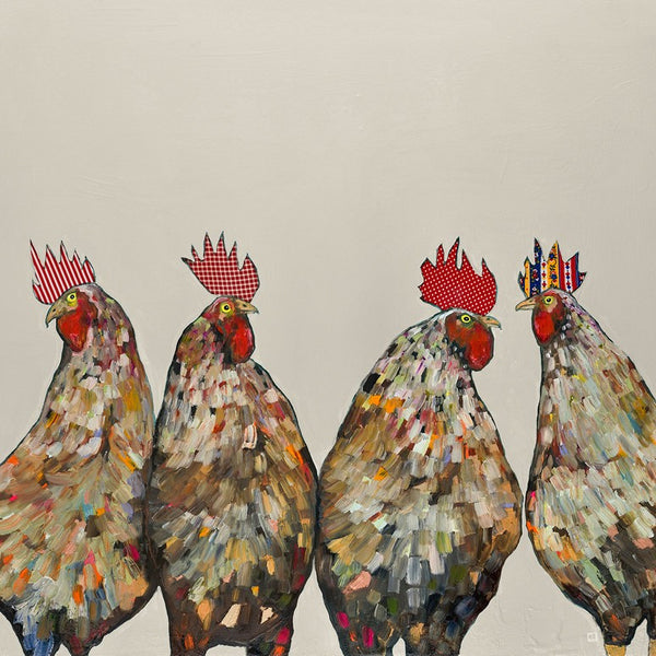 Roosters on Cream - Giclée Print
