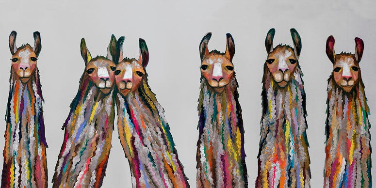 Six Lively Llamas on Grey - Giclée Print