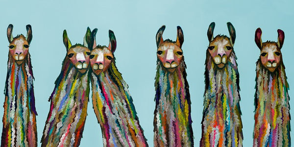 Six Lively Llamas on Sky Blue - Giclée Print